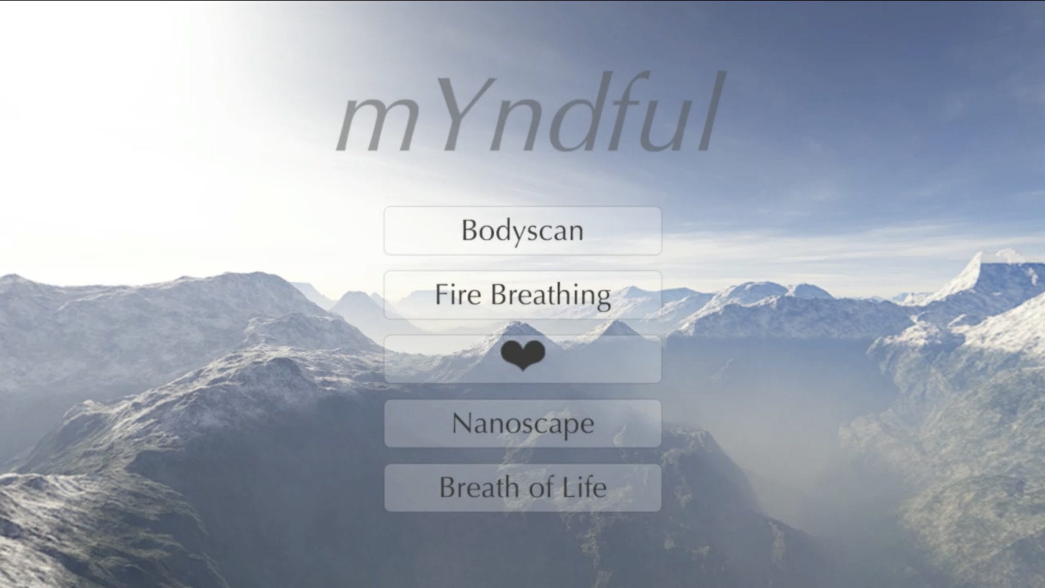 "Menu of ""mYndful"" VR project with heart rate biofeedback."